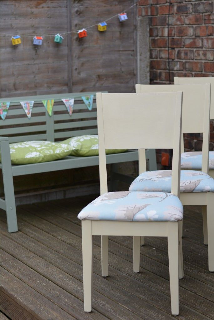 Chairs Finished With Annie Sloan Cream and Covered With Laura Ashley Fabric