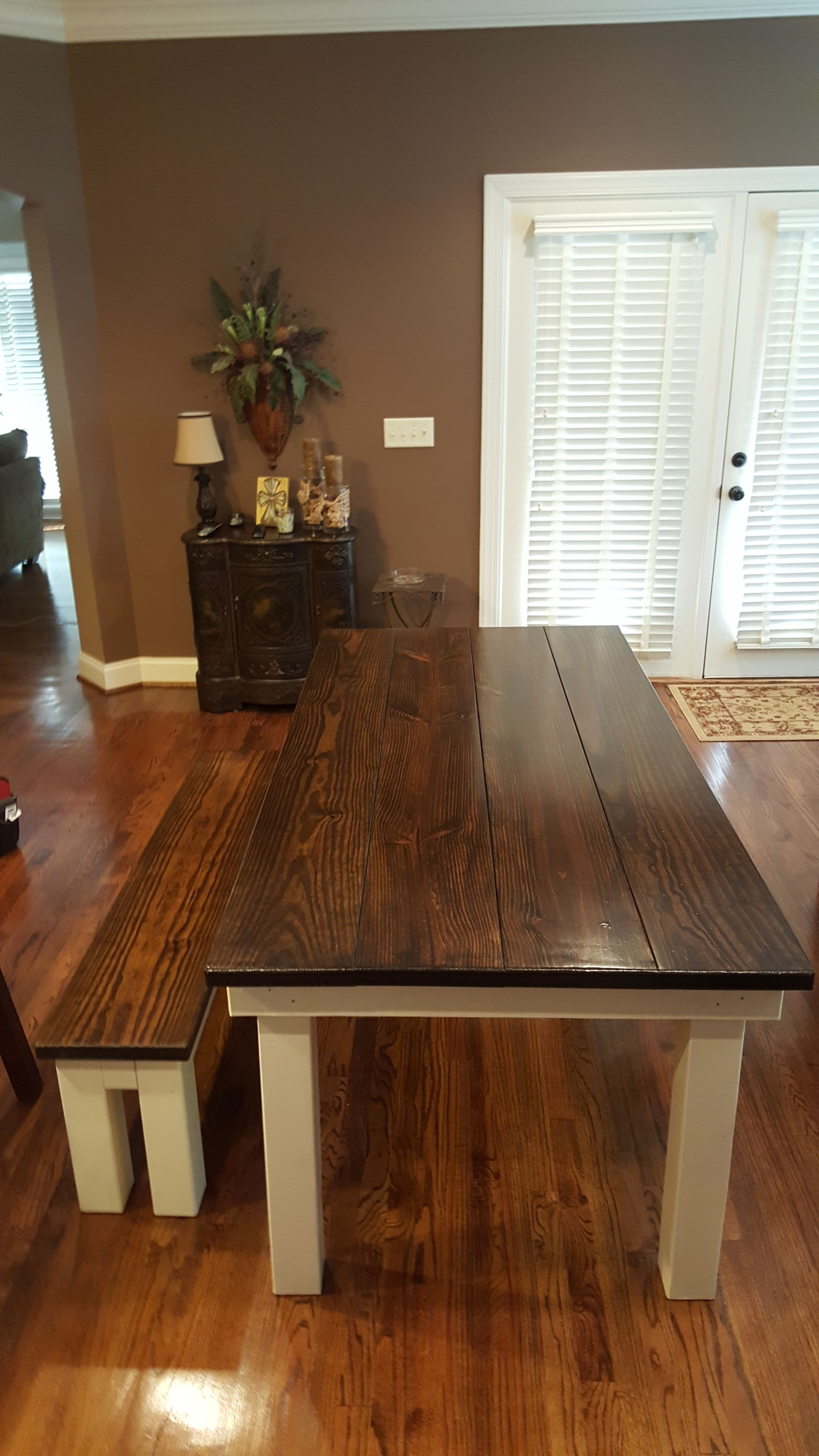 X Farmhouse Table With A Traditional Tabletop Stained Dark Walnut