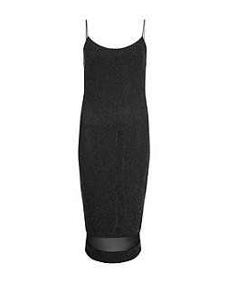 Cameo Rose Black Sparkle Strappy Mesh Panel Midi Dress  4feba67ac