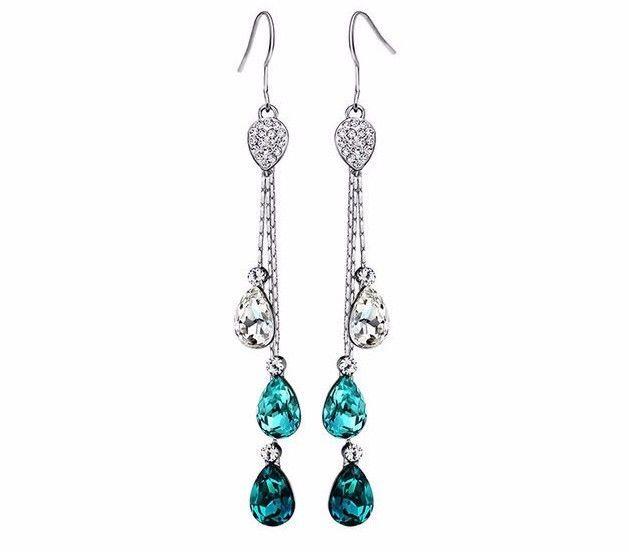 DF100 Gorgeous Swarovski Crystal Aqua Blue Waterfall Drop Earrings $84 #Handmade #Stud