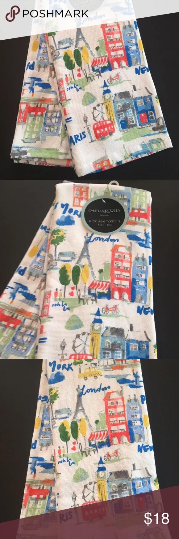 CYNTHIA ROWLEY Kitchen Towels (2) PARIS LONDON NWT Cynthia Rowley Kitchen  Towels 100%