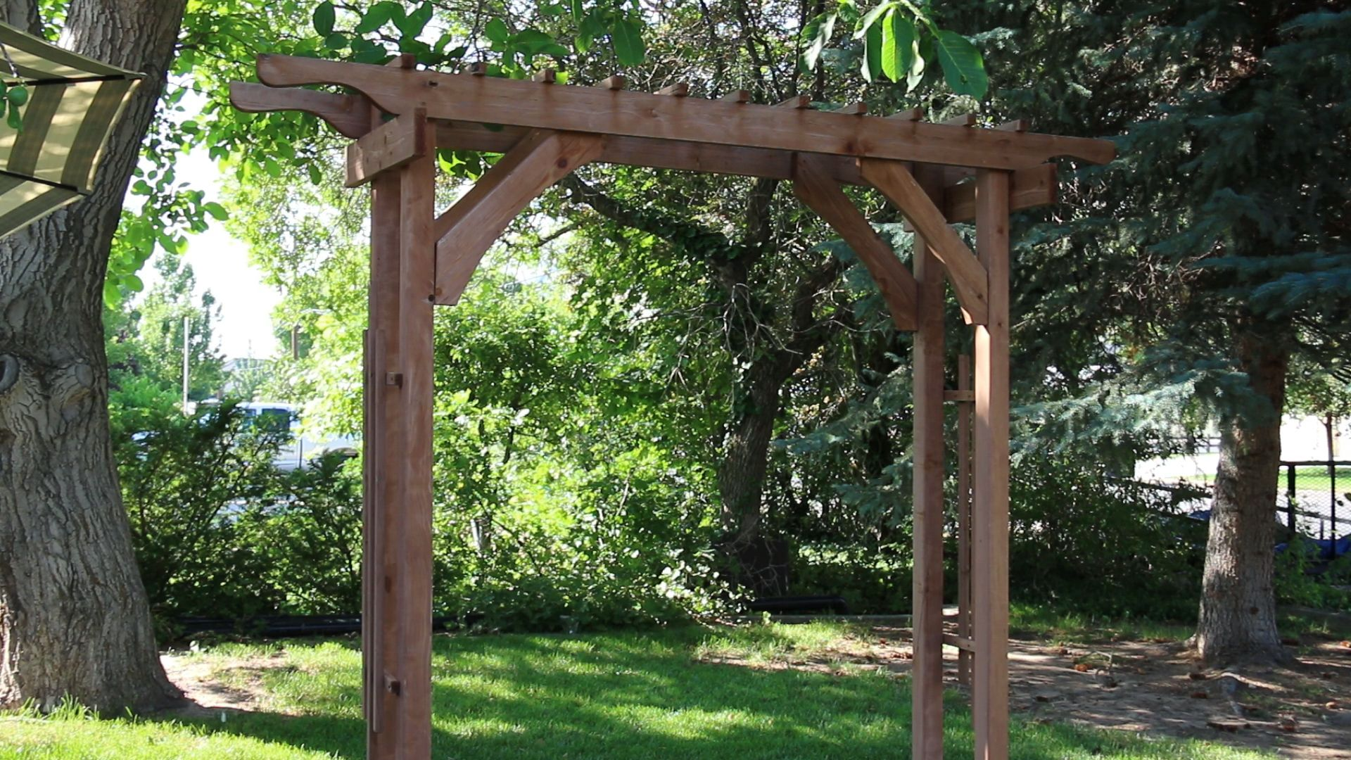 2 4 And More How To Build A Garden Arbor Using Budget Friendly Structural Lumber Garden Arbor Diy Wedding Archway Outdoor Pergola