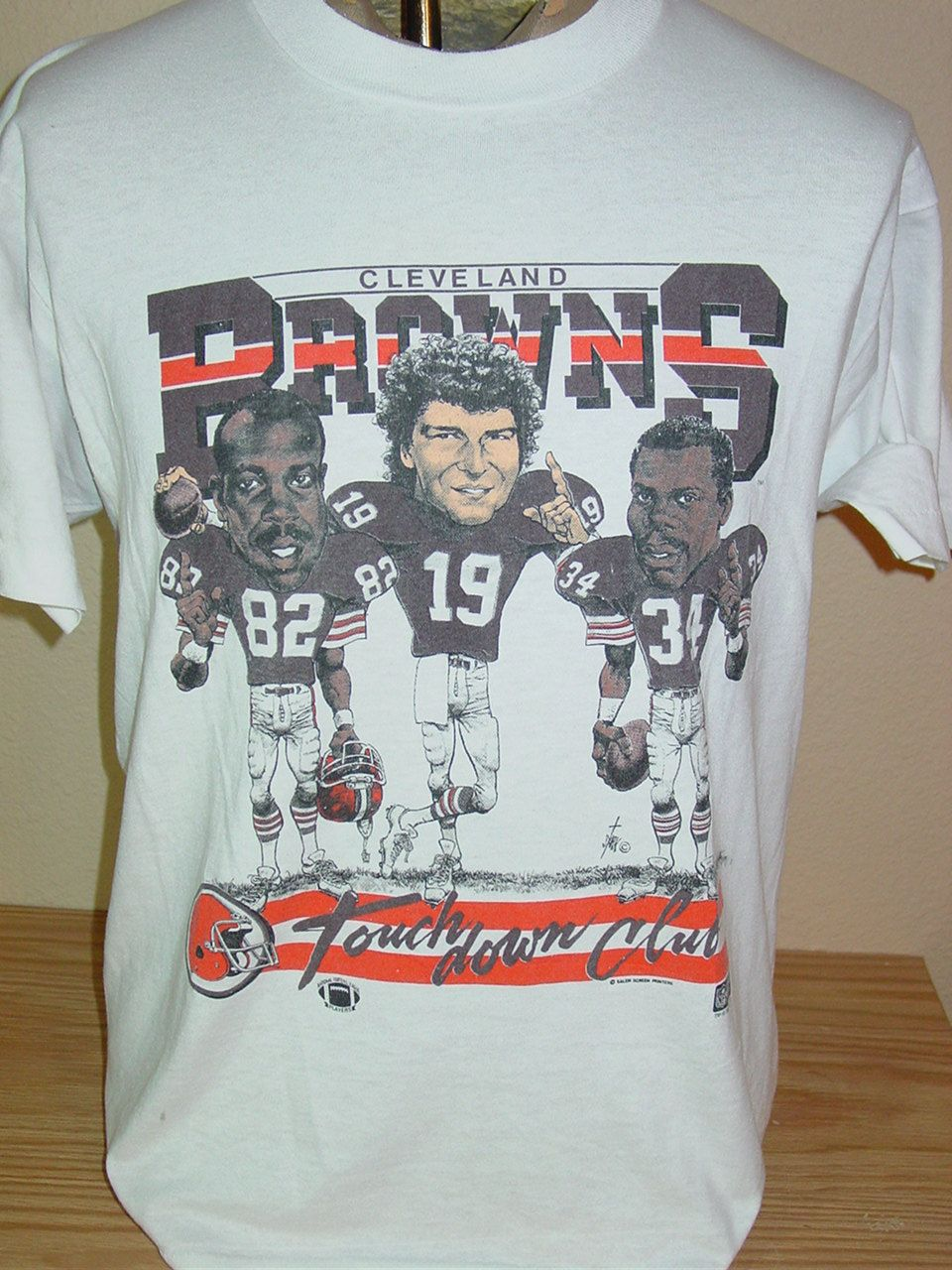 2d7a89a84be vintage 1980s Cleveland Browns Bernie Kosar cartoon football t shirt Large  by vintagerhino247 on Etsy