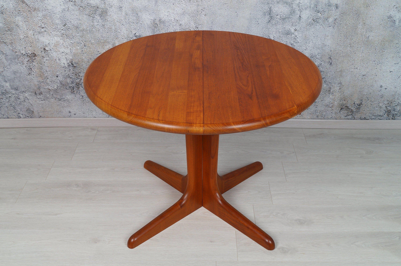 Danischer Teak Esstisch Rund 100cm Ausziehbar Midcentury 1980er In 2020 Round Dining Table Teak Dining Table Table