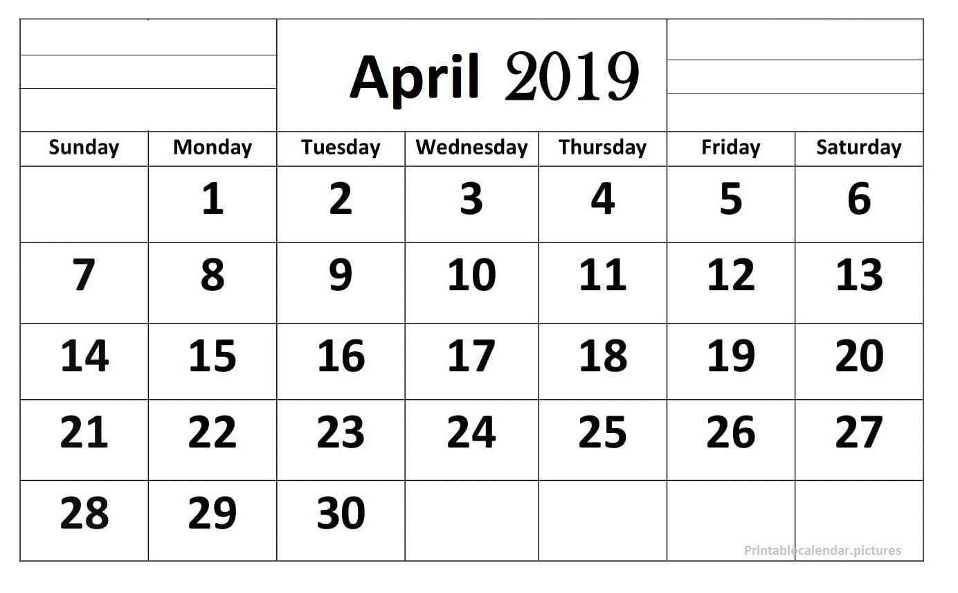 April 2019 Calendar Printable Large Print Calendar Printables