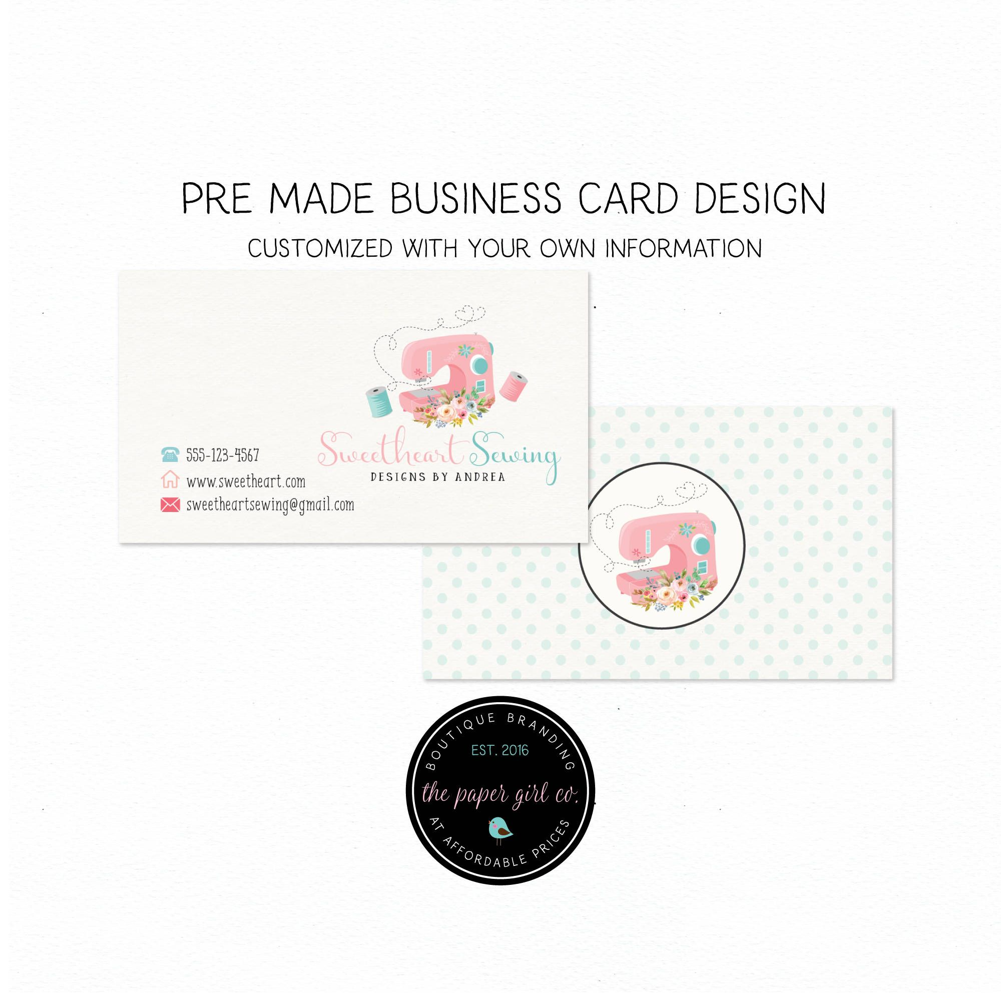 sewing business card design sewing machine business card | The Happy ...