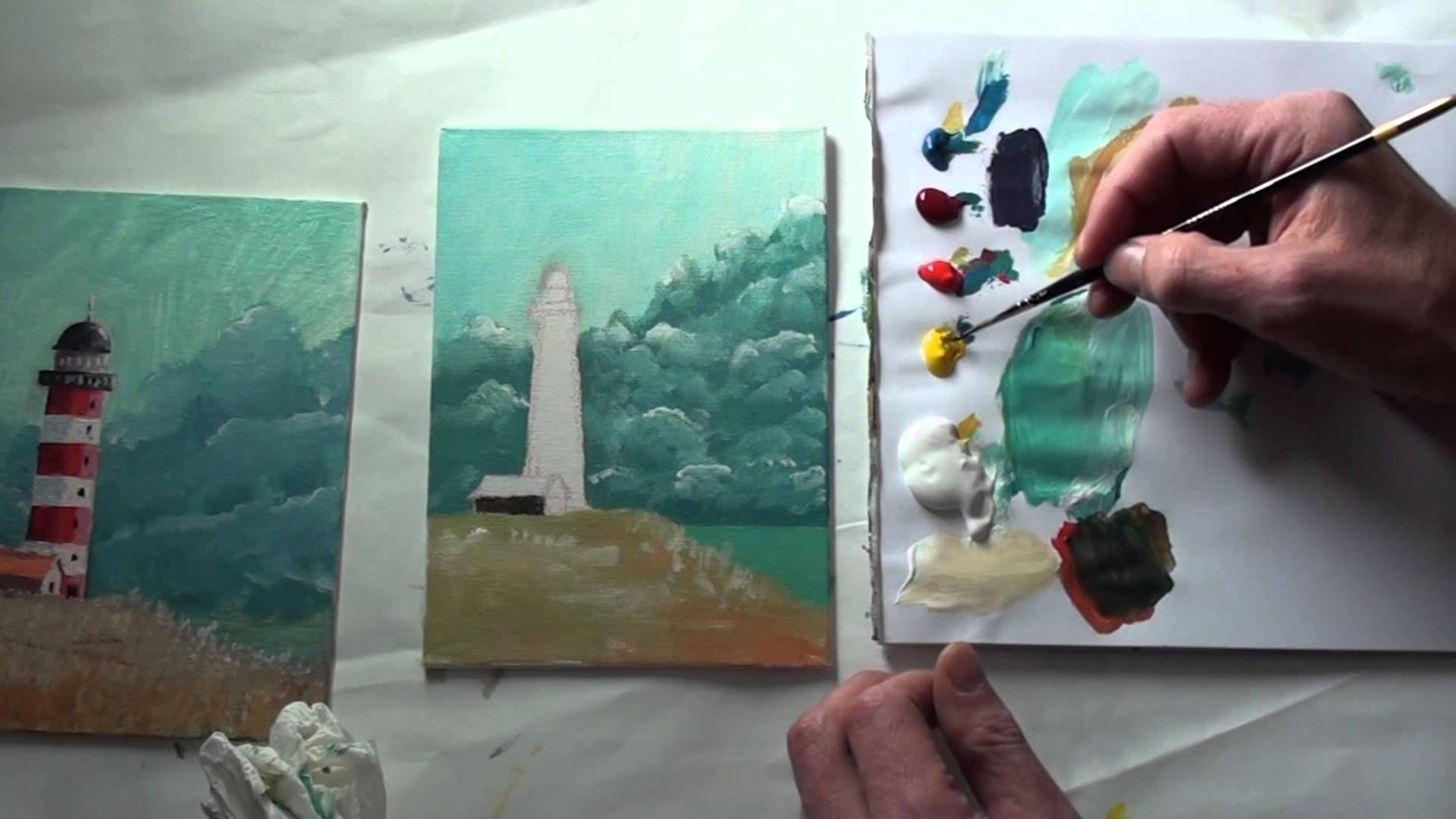 10 Minuten Malerei Leuchtturm Vor Sturmhimmel Malerei Strand Aquarell Leuchtturm