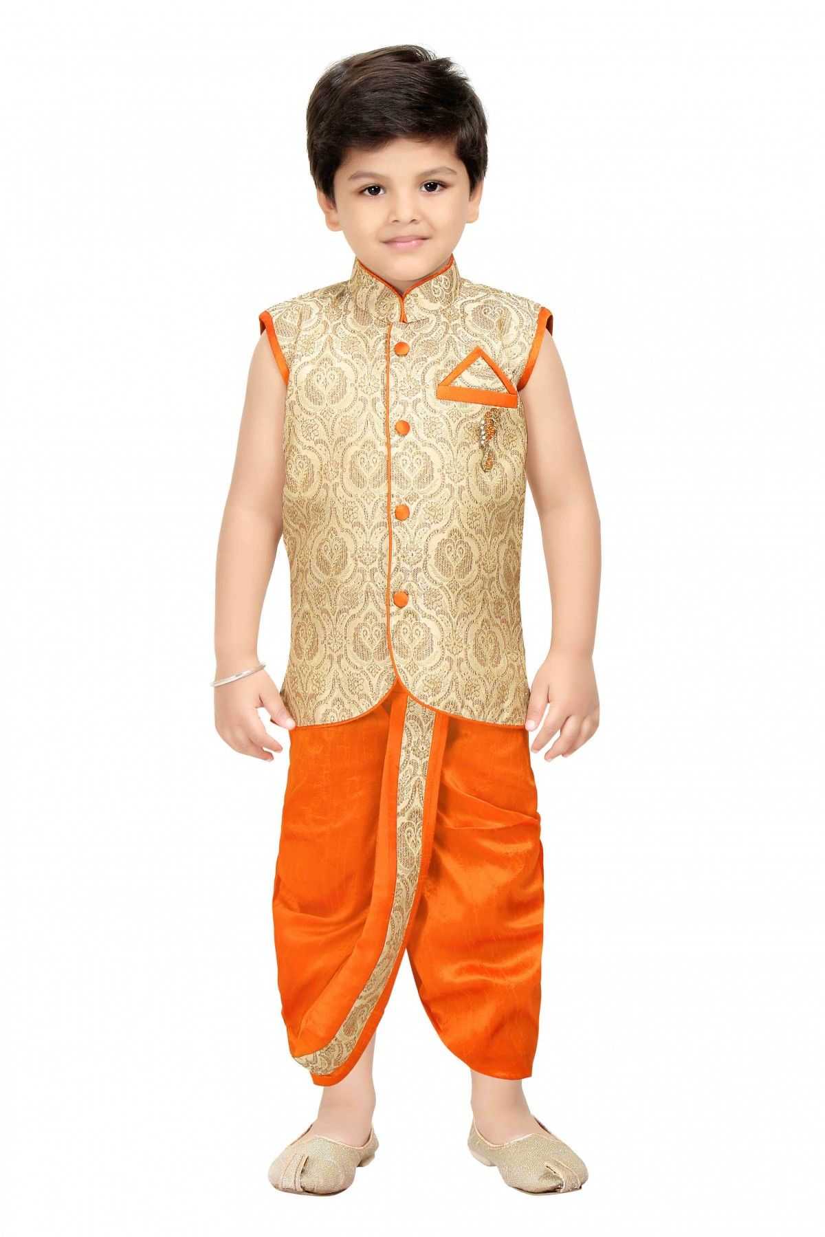 a1870608d106 Cotton Blend Party Wear Dhoti Kurta Set in Orange Colour