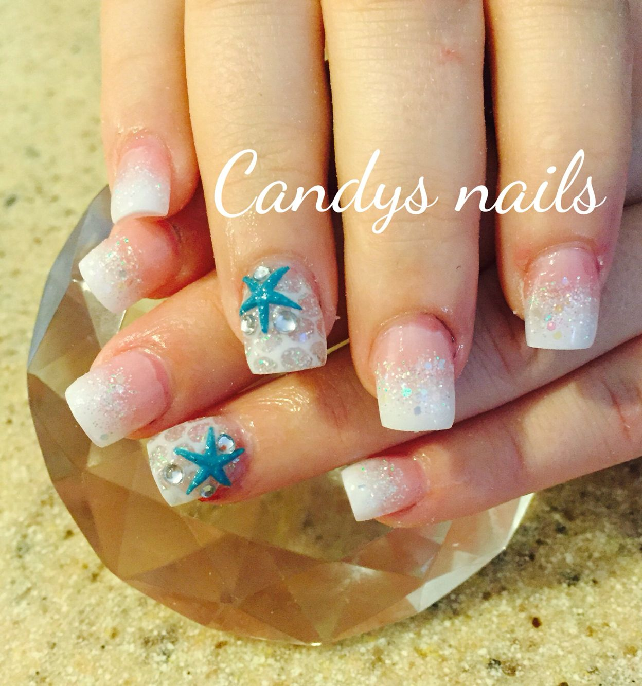 White mermaid acrylic nails with teal starfish! | Candys Nails ...