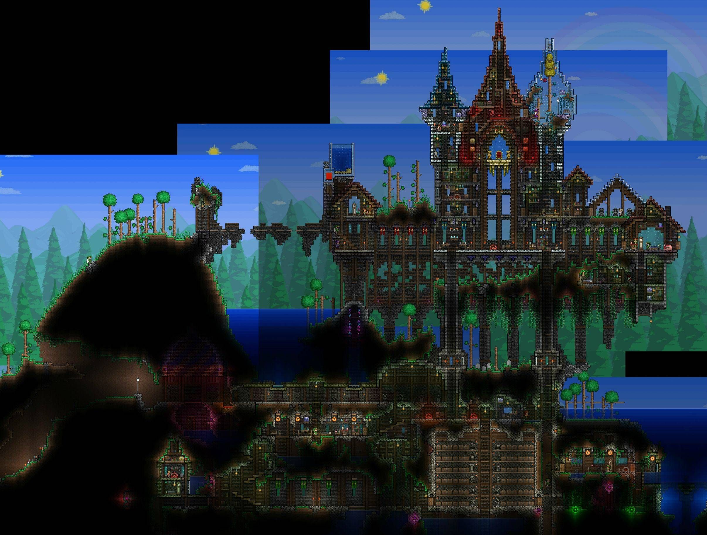 Terraria castle tower castle tower any tips terraria - After A Year Or So Work On And Off My Little Home Is Finished