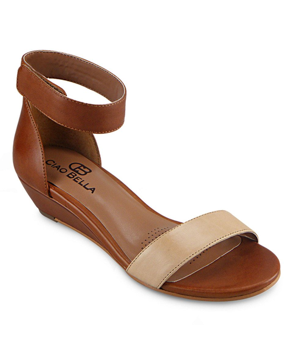 681130e59 This Ciao Bella Mid-Brown Wilson Leather Wedge Sandal by Ciao Bella is  perfect!  zulilyfinds