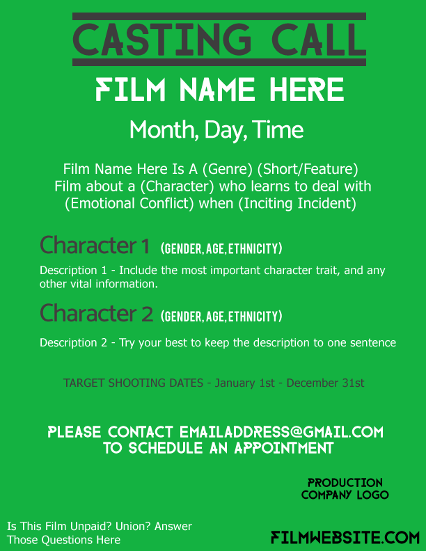 How To Make A Casting Call Poster Examples Templates Filmtoolkit Casting Call It Cast Call Film
