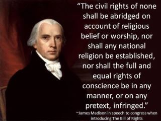 Religious beliefs shall NOT be used to infringe upon the civil liberties of others, nor shall a national religion be established. Anyone claiming that this is a Christian country has not read their history well.                                                                                                                                                                                 More