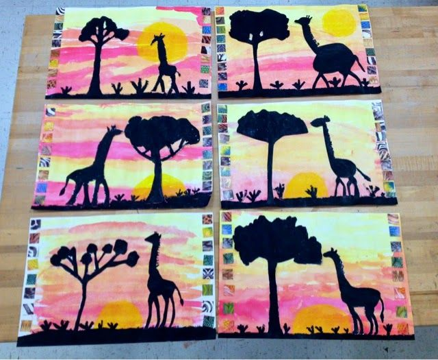 African watercolor sunset/giraffe silhouette/Grade 1-3/Art with Mr. Giannetto Blog