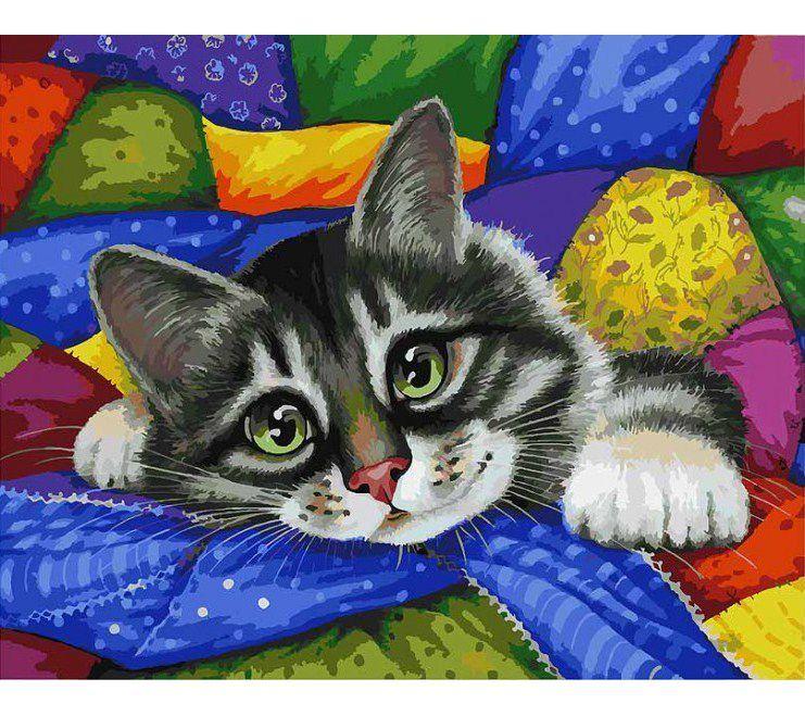 """Раскраска по номерам Белоснежка """"Котик в лоскутках ..."""