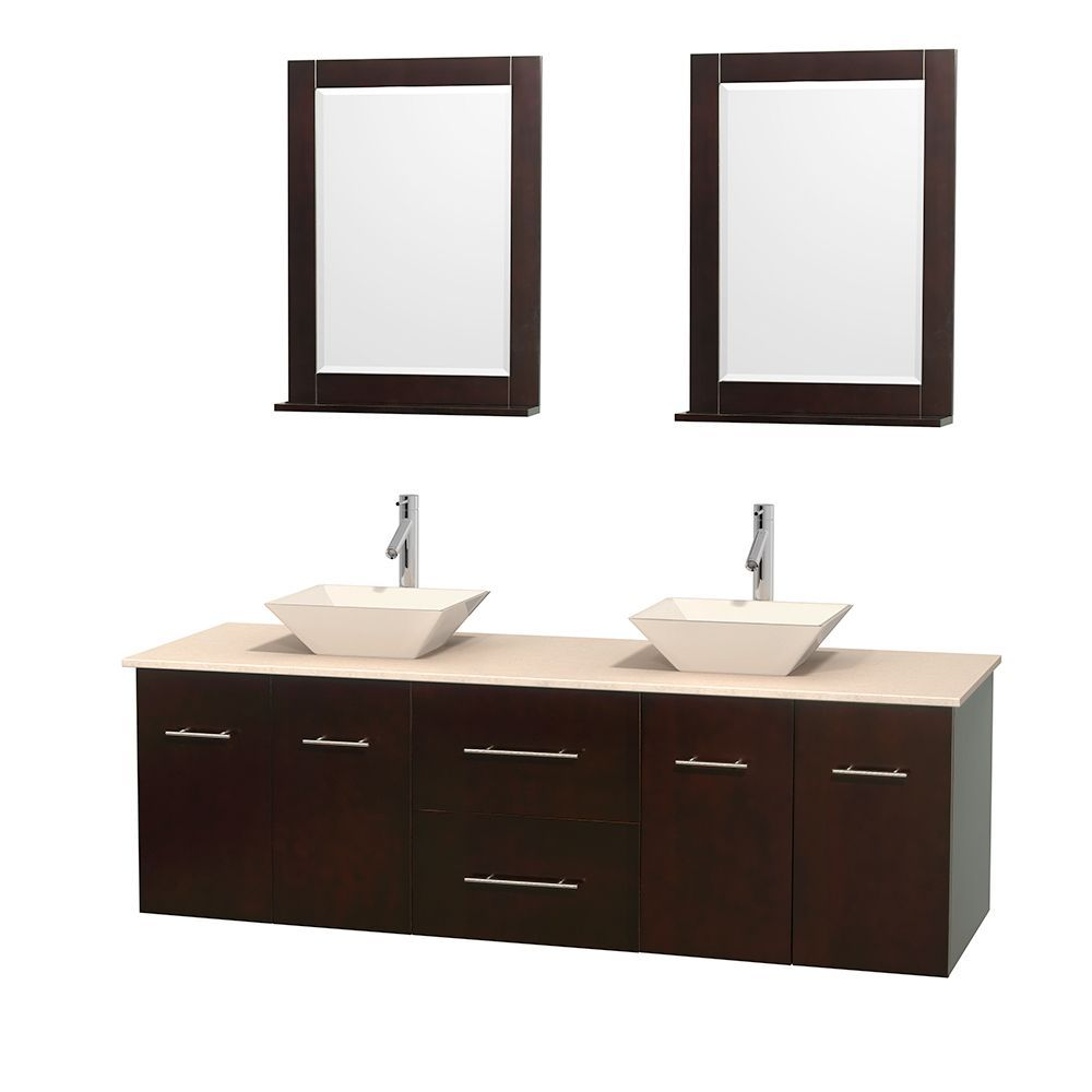 Wyndham collection centra espresso 72 inch double ivory marble bathroom vanity with mirrors 72