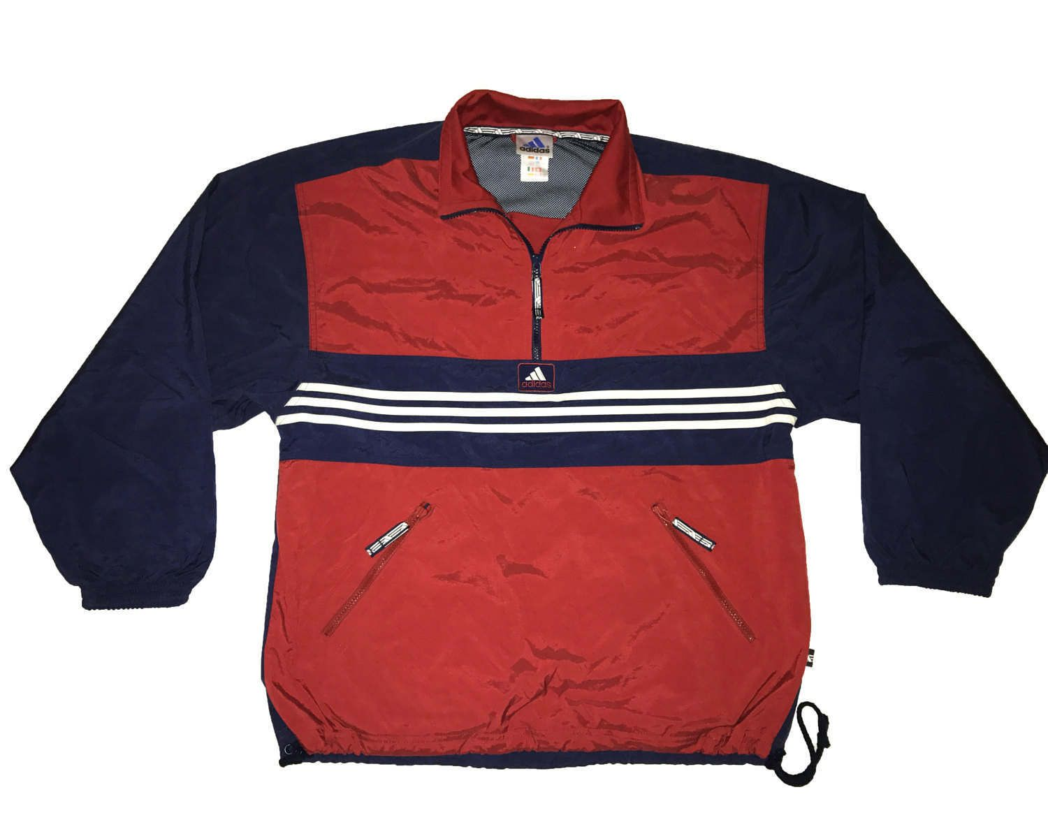 de9032a7d09d Vintage 90s Adidas 1 4 pullover jacket Color Block Blue Red White Size S M  D4 by VapeoVintage on Etsy