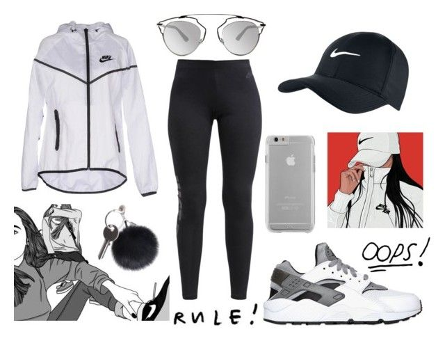 """Nike"" by draaayya ❤ liked on Polyvore featuring NIKE, Maison Margiela, Case-Mate, Christian Dior, women's clothing, women, female, woman, misses and juniors"