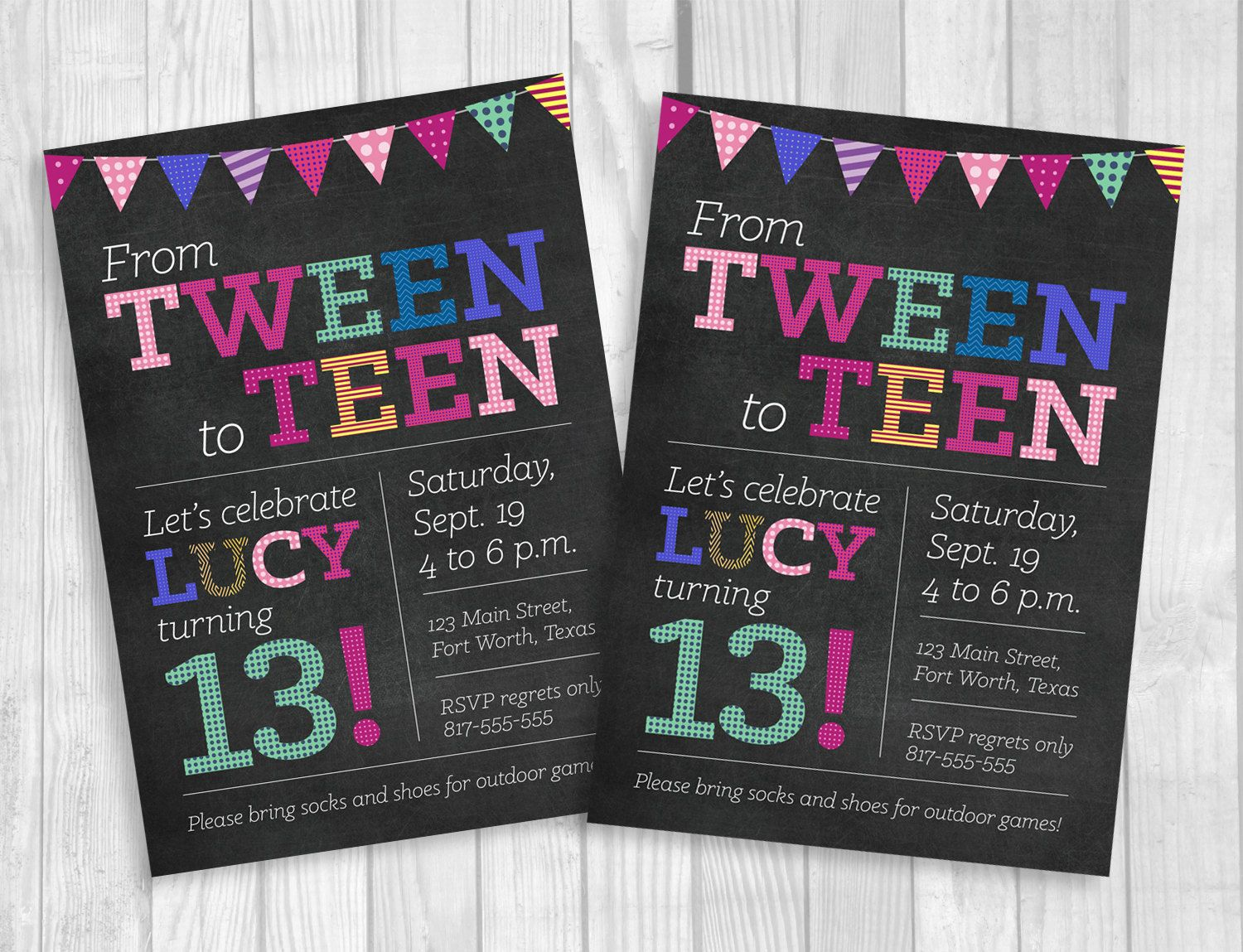 Custom Printable 5x7 Tween To Teen Girl\'s 13th Thirteen Birthday ...