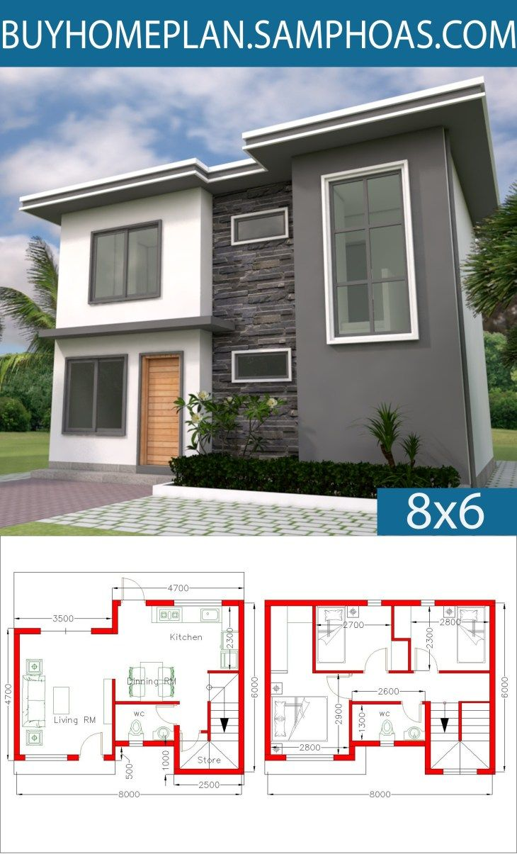 Home Design 8x6m With 3 Bedrooms Samphoas Com House Design Modern House Plans Small Modern House Plans