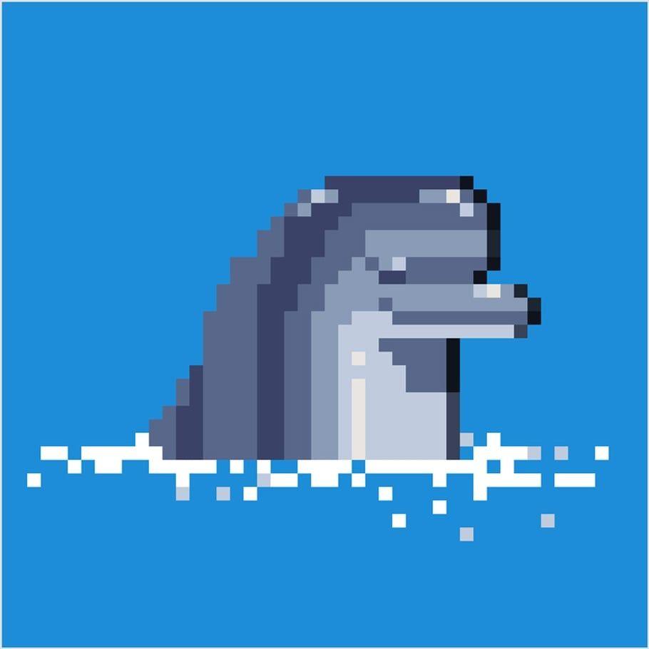 Coloriage Et Illustration Dun Dauphin En Pixel Art Tout Le