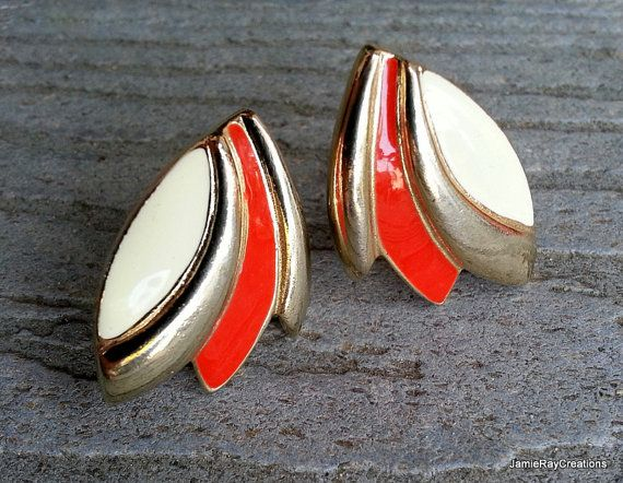 Vintage Red and Cream Enamel and Gold Tone Metal Clip On Earrings from JamieRayCreations, $9.50 https://www.etsy.com/listing/200186811/vintage-red-and-cream-enamel-and-gold