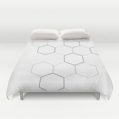 Grey Bee Hive Duvet Cover by design delight - $99.00