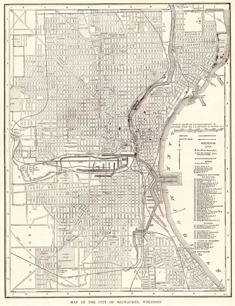 Vintage MILWAUKEE City Map Antique Map Of Milwaukee Wisconsin - Vintage milwaukee map