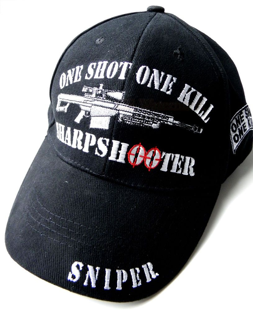 EMBROIDERED US ARMY ONE SHOT ONE KILL SHARPSHOOTER SNIPER BASEBALL CAP in  Collectibles, Militaria,