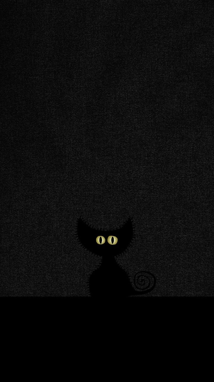 Download Wallpaper 720x1280 Eyes, Minimalism, Black, Cat
