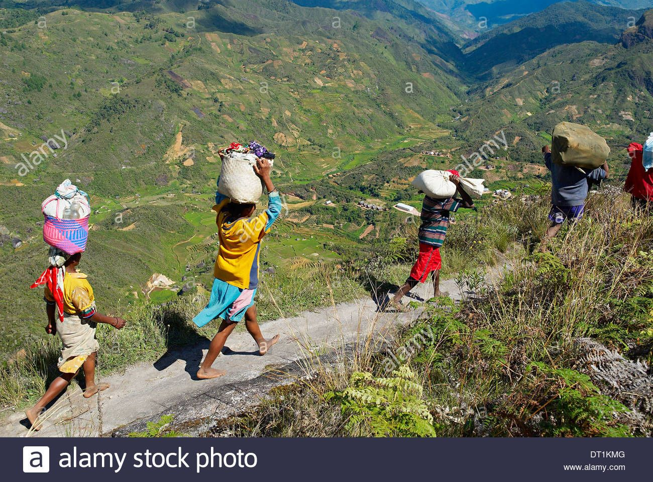 Zafimaniry country people back from market, Madagascar, AFrica Stock Photo