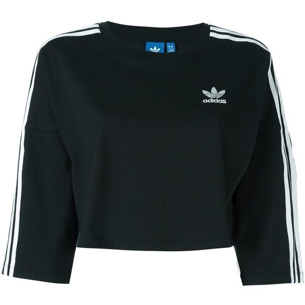 Adidas Originals cropped sweatshirt (€32) ❤ liked on Polyvore featuring tops, hoodies, sweatshirts, shirts, black, adidas originals sweatshirt, shirt crop top, crop shirt, cotton crop top and cut-out crop tops