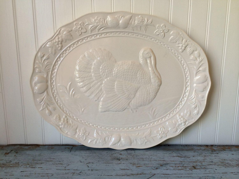 Turkey Platter Large Oval White Ceramic Thanksgiving Serving Thanksgiving Servings Turkey Platter White Ceramics