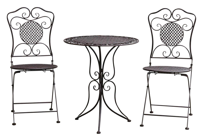 Gartenset Tisch 2x Stuhl Eisen Gartengarnitur Braun Bistroset