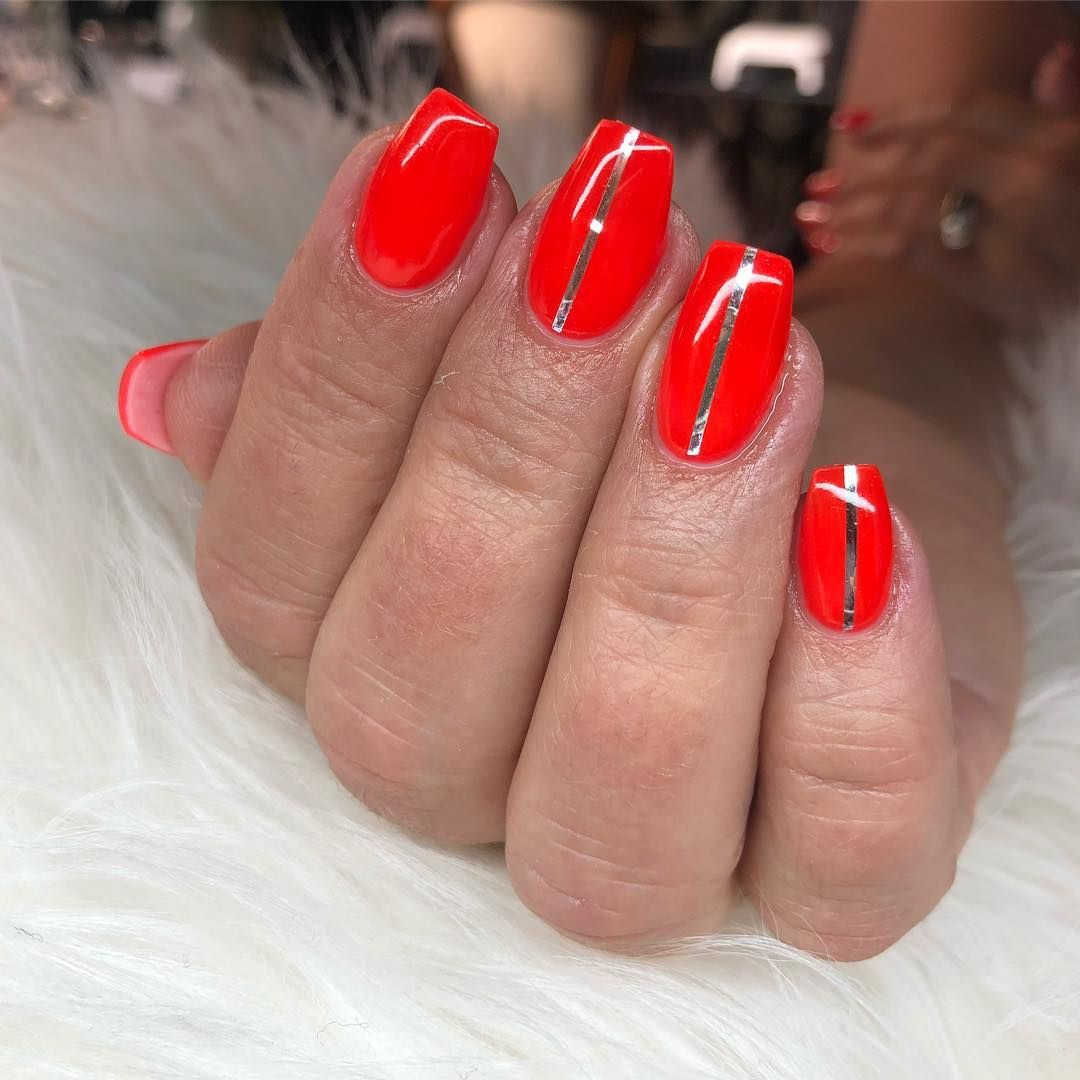 Neon Red With Stripes Striped Nail Designs Striped Nails Red Nails