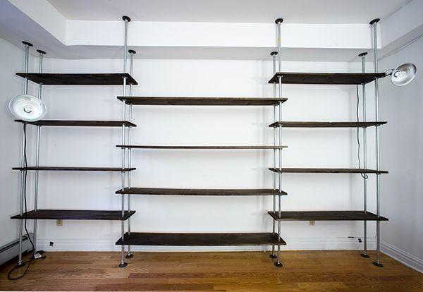 Wood and Pipe bookshelf on Behance