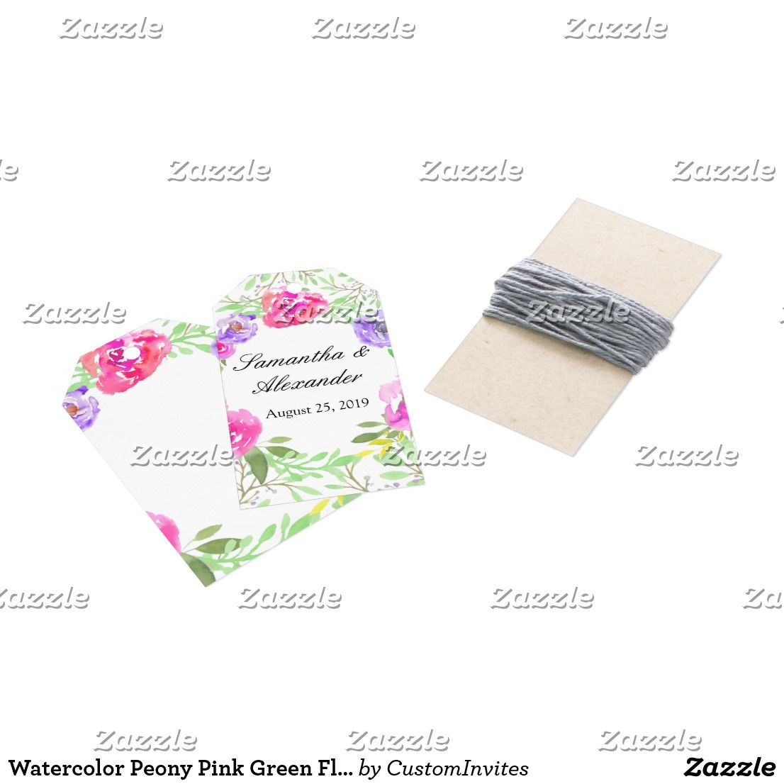 Watercolor Peony Pink Green Floral Wedding Gift Tags | Watercolors ...