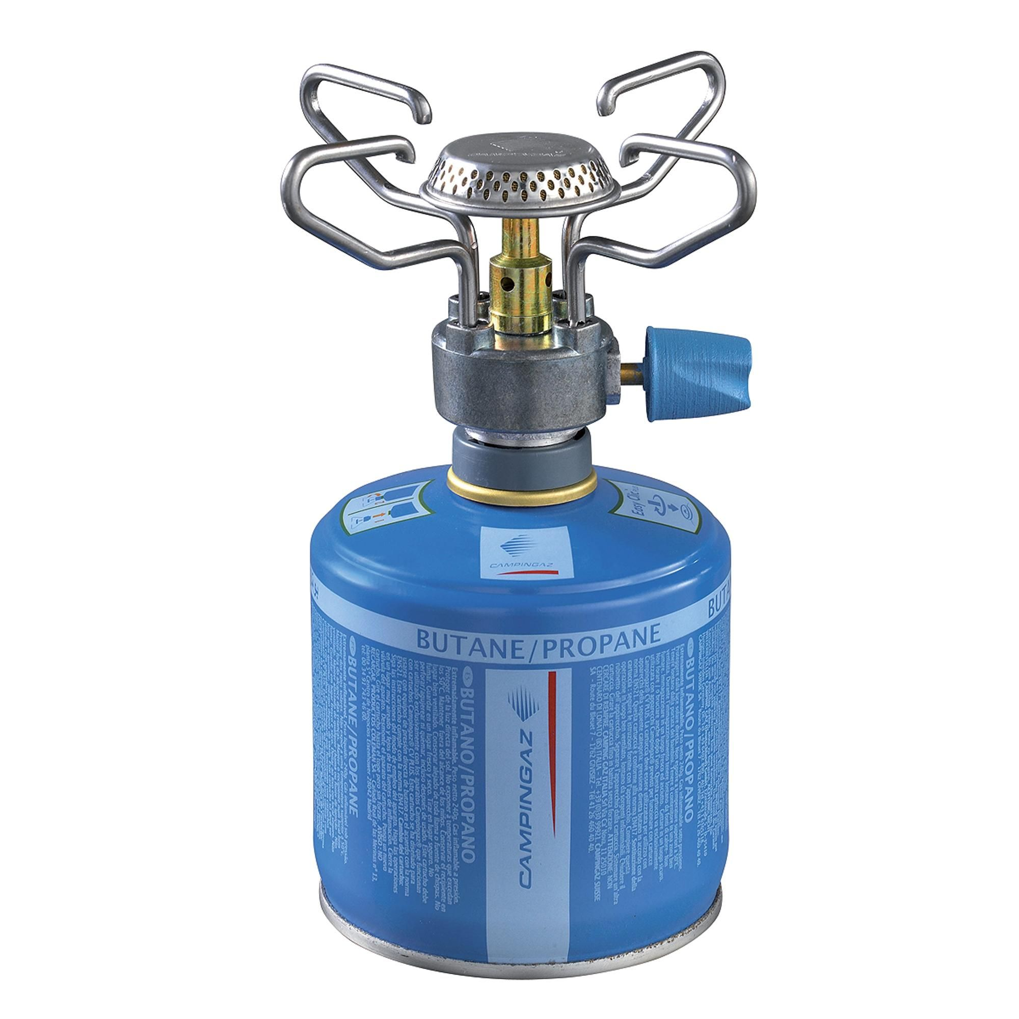 The Campingaz Bleuet micro plus stove has foldable arms for ...