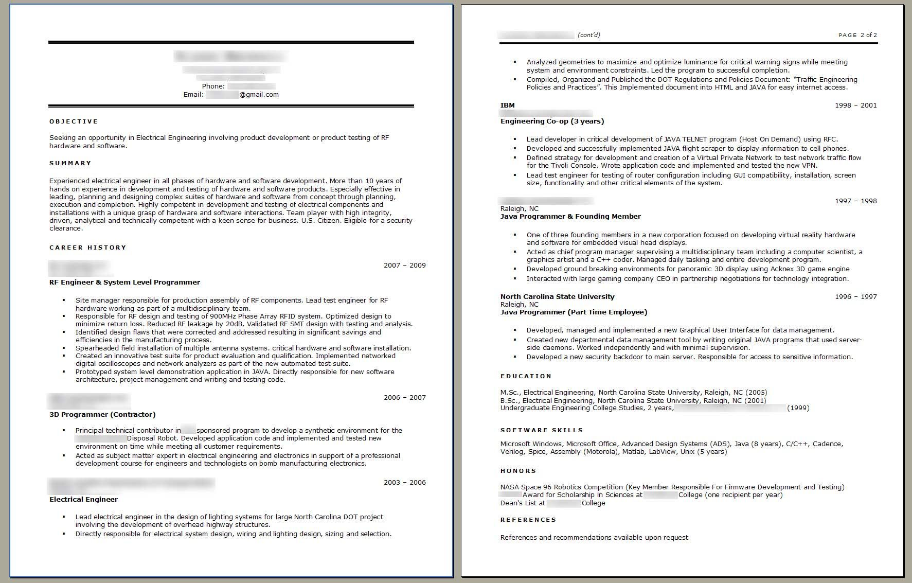 Resume examples electrical engineer