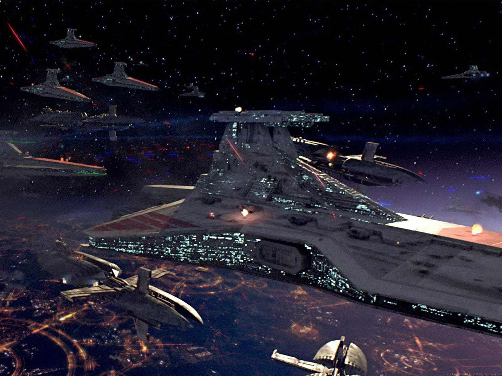 Venator class ship over Coruscant