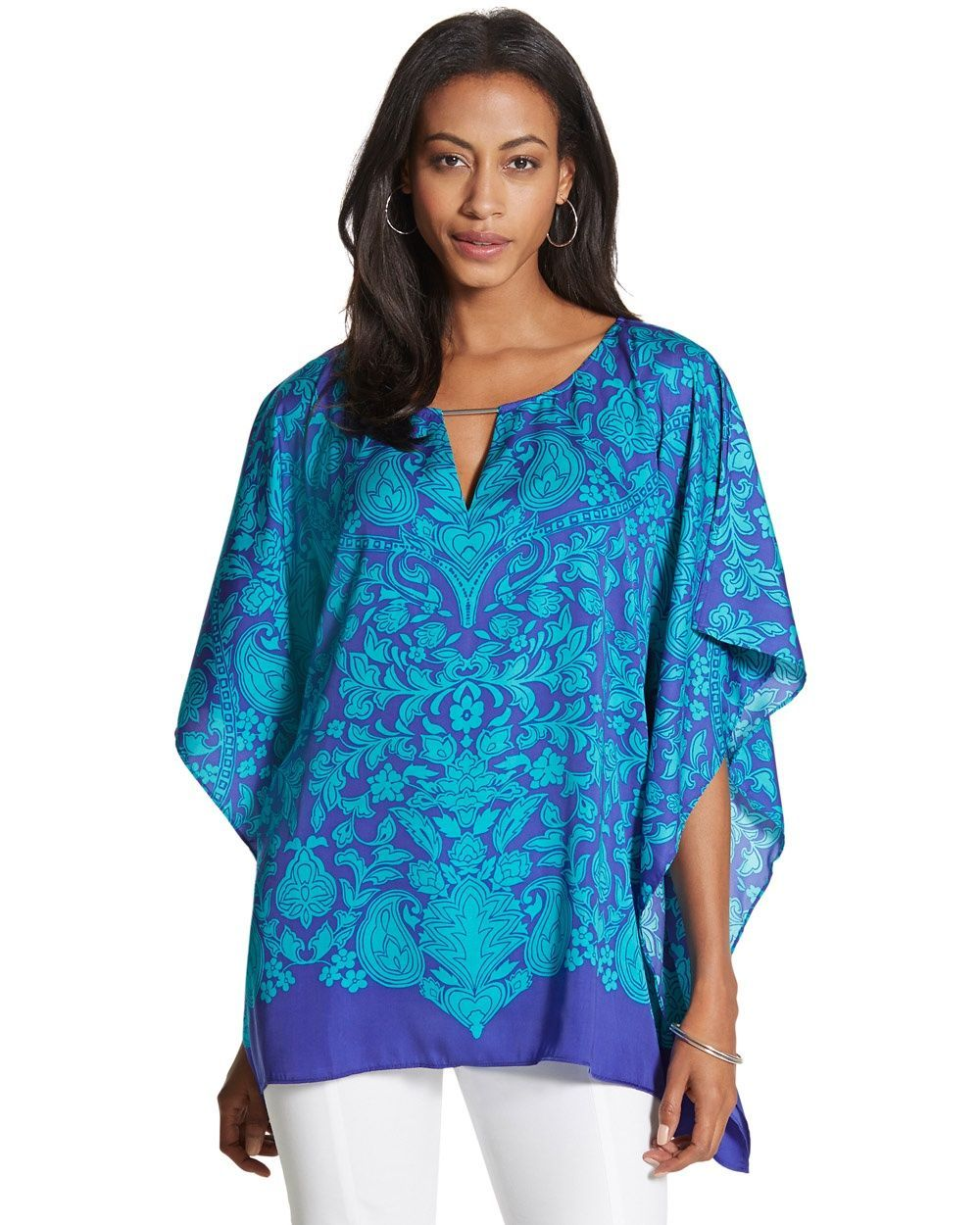 e62651a5f Chico's Women's Erin Poncho, Cool Multi, Size:   Products   Clothes ...