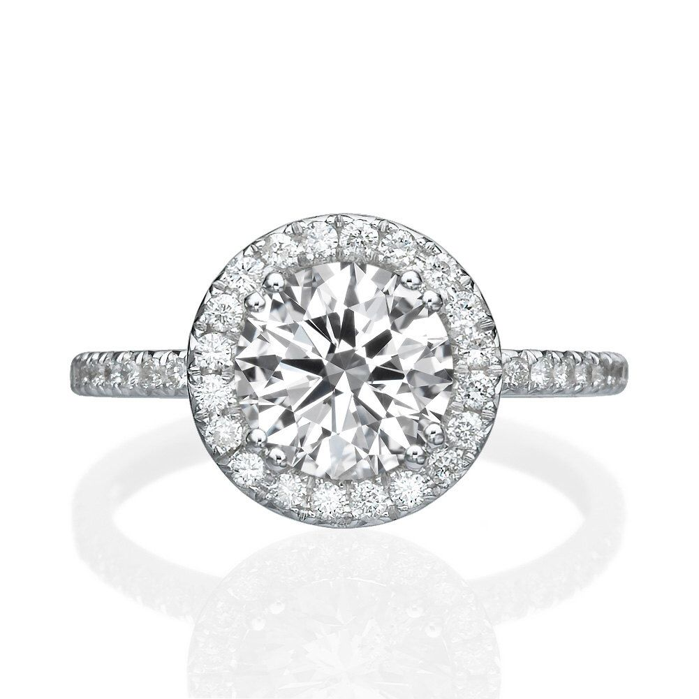Moissanite engagement ring forever one solid white gold ring