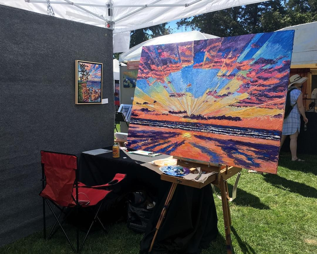 It's the LAST DAY of the @lo_festival_of_the_arts Stop by 10am-5pm at George Rodger's Park! . . . . . . . . . . . . . . . . . . . . . . . #lakeoswego #lakeridge #lakeoswegoart #openshow #sunset #oilpainting #oilsbyeryn #oils #impressionist #oceanwaves #seascape #frames #oregoncoast #rockawaybeach #siletzbay #manzanita #artinthepark #artifacts #journey #juriedshow