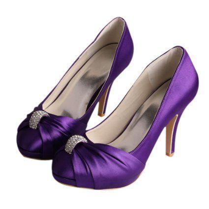 Ladies Wedding Party Low Heel Shoe Evening Shoes Diamante Lilac Satin NEW