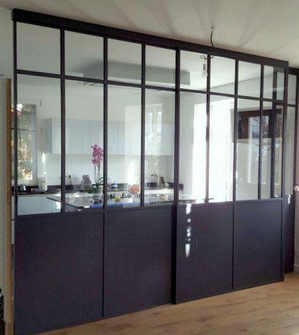 Verrire ral 7021 tle en partie basse avec une porte for Cloison coulissante atelier