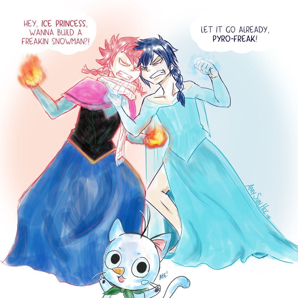 Natsu as Anna and Gray as Elsa by SunHee2244 on