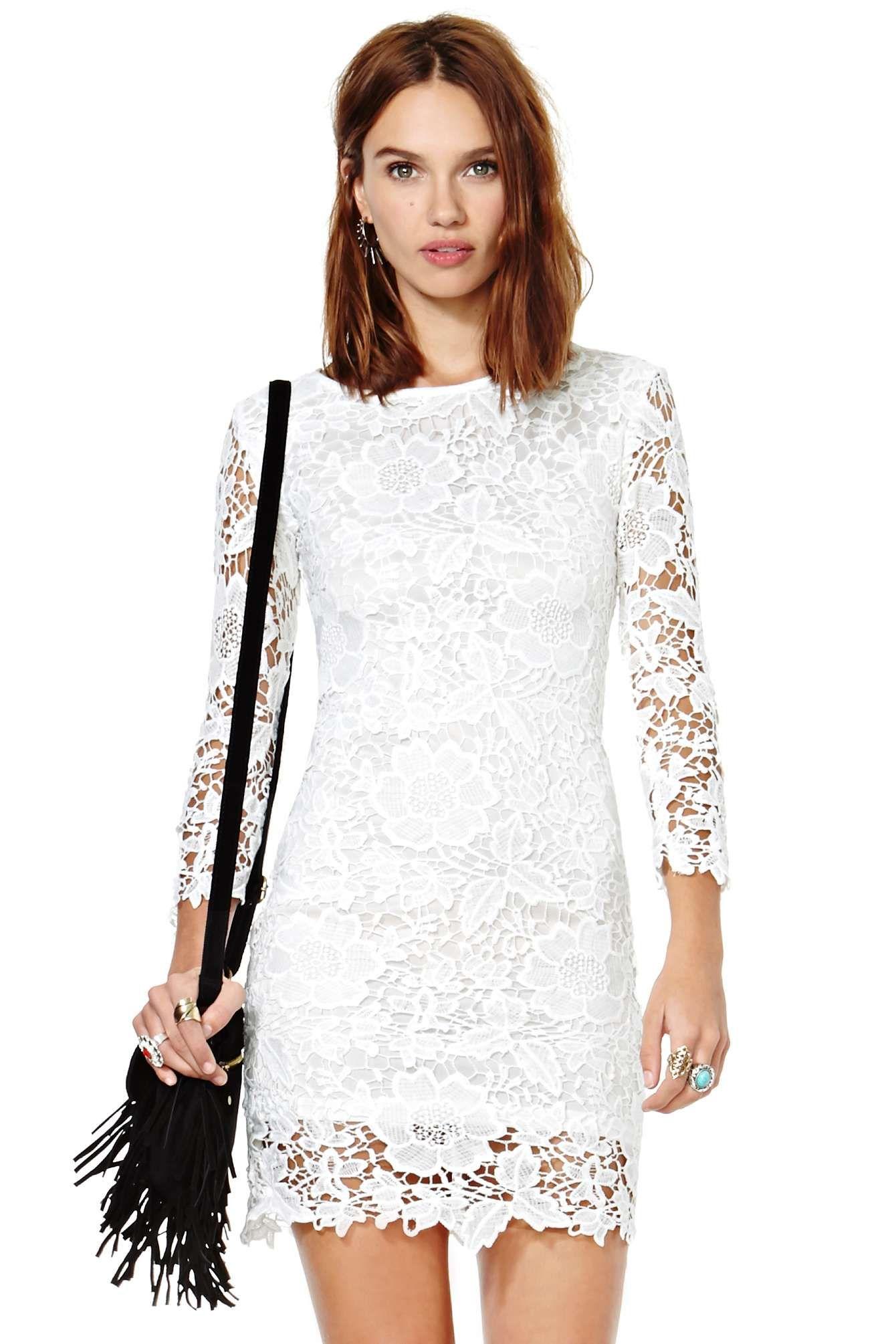 7cc6c6166e Vestido encaje Floral Crochet manga larga-blanco EUR€29.30