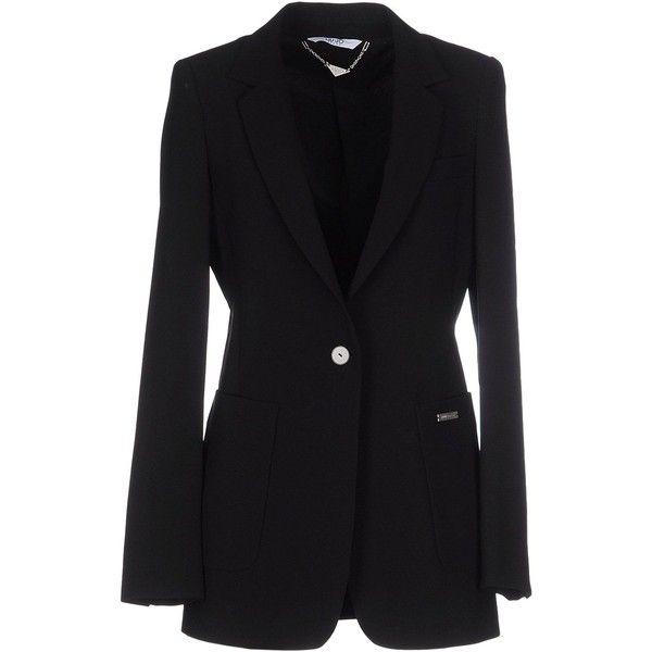 Liu •jo Jeans Blazer ($260) ❤ liked on Polyvore featuring outerwear, jackets, blazers, black, multi pocket jacket, black one button blazer, lapel jacket, long sleeve blazer and black blazer