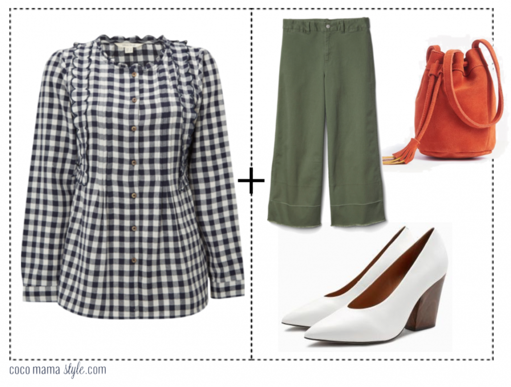 5 shirts to wear now - and how to style them - coco mama style | gingham shirt, khaki wide leg crop trousers, white heels, block heel, 80s shoes, orange bucket bag