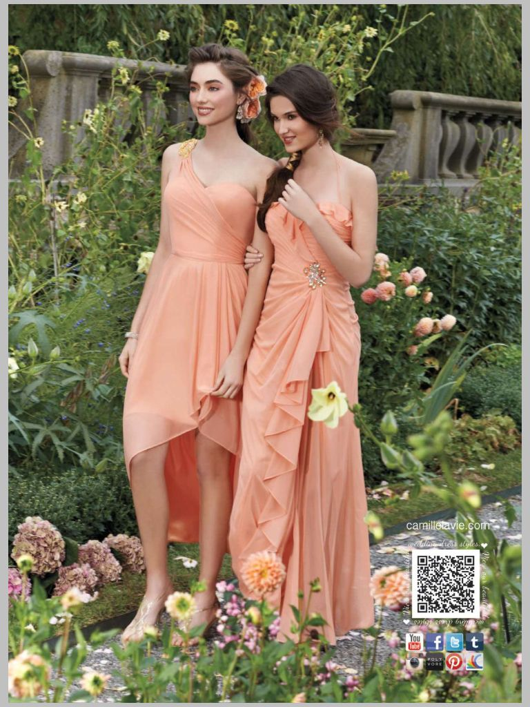 Bridesmaid dresses all about beach weddings pinterest mismatched peach bridesmaids dresses d bridesmaid dresses mesh one shoulder high low dress with buckle from camille la vie and group usa ombrellifo Images